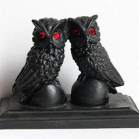 Gothic Black Coal Owls with Ruby Red Jeweled Eyes Vintage 1980s, Handcrafted Figurine Statue Owl Pair on Ball & Base