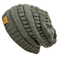 Amazon.com: Charcoal Grey Thick Slouchy Knit Oversized Beanie Cap Hat: Clothing