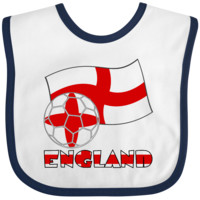 English Soccer Ball and Flag Baby Bib White and Navy $9.99 ink.flagnation.com