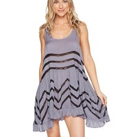 FREE PEOPLE Voile/Lace Trapeze Slip Purple Navy