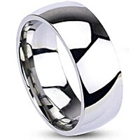 Spikes Mens Stainless Steel 8mm Traditional Wedding Band Ring