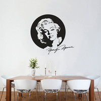 Wall Decal Marilyn Monroe With Signature Wall Sticker Icon Silhouette Wall Vinyl