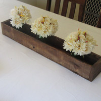 Stained Wood Planter Box • Mason Jar Centerpiece, Long wood box, Candle Holder, Wedding Centerpiece • 31 inches long