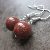 Sparkling Goldstone Earrings. Neutral Brown Shimmering Gemstone Rounds Wrapped in Silver. Modern, Simple Everyday Earrings. For Her