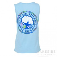 Palm Print Pocket Tank in Cerulean | Lakeside Cotton