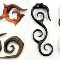 Pair Wood Horn Spiral Hand Made Tribal Organic Carved Plugs Gauges Earring New