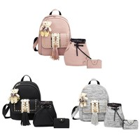 3 Piece Teen Girls PU Leather Backpack Shoulder Bag Set