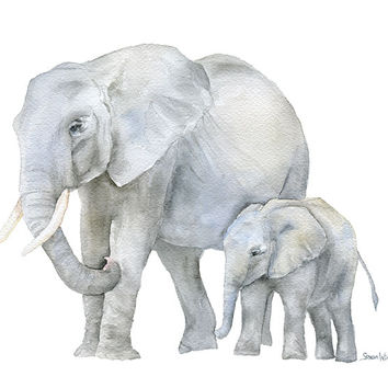 African Elephants Watercolor - Mother and Baby