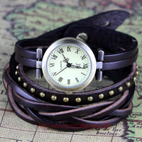 leather bracelet wrist watches,Men and women rivets bracelet watches, personalized watch style restoring ancient ways, friendship gift