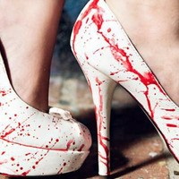 White Pumps - Victim Hand Painted Blood Spatter | UsTrendy