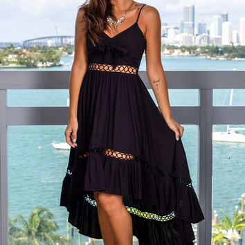 Black High Low Dress with Tie Front