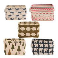 Beautiful Fabric Art Retro Vintage Desk Makeup Storage Box Home Office Stationary Remote Control Linen Type Organizer Case
