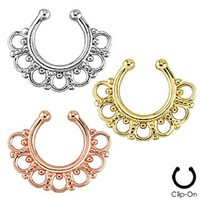 Tribal Fan Non-Piercing Septum Hanger Clip On Clicker Ring (Sold Individually)