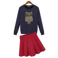 Diamond Owl Embroidered Sweater With Pleated Skirt