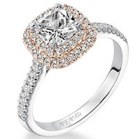 "Artcarved ""Avril"" Two Tone White And Rose Double Cushion Halo Diamond Engagement Ring"