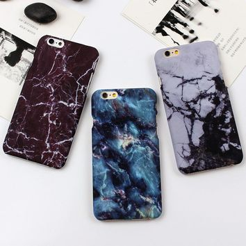 Fashion Phone Cases For iPhone SE Case Marble Stone image Painted Cover For iphone 7 5 5S 6 6S / 7 Plus New Screen Protector