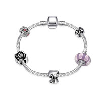 online shopping india silver bracelets bangles Geometric beads connected pulseras mujer Personalized PFDH 2 MP