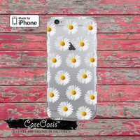 White Daisy Flower Pattern Cute Tumblr Inspired Clear Rubber Phone Case For iPhone 6 and iPhone 6 Plus + Transparent Crystal Custom Case