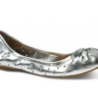 TOMS+ Perforated Metallic Silver Ballet Flats