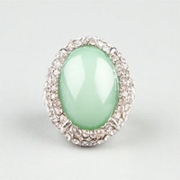 FULL TILT Rhinestone Mint Oval Ring