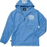 Monogrammed Carolina Blue Lightweight Pullover Rain Jacket
