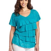 AGB Women's Solid Back Crochet Top With Ruffle Tiers and Flutter Sleeves, Peacock, 3X