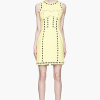 Versace Vivid Yellow Heart And Arrow Cut Out Dress for women | SSENSE