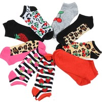 Womens Cherry Cherries Strawberries Leopard Solid Prints 10 Pack No-Show Socks Back to School