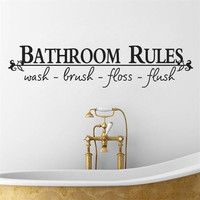 "Home Art Wall Quote Stickers ""Bathroom Rules"" Decoration Decals Vinyl Art Decor = 1706043012"