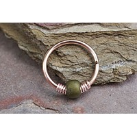 16g 18g or 20 Gauge Rose Gold Beaded Olive Green Nose Hoop Ring or Cartilage Hoop Earring