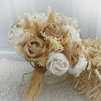 Country Burlap & Wheat Bridal Bouquet, handmade of Natural and Ivory Burlap Roses, Wheat and Babies Breath. Made to Order.