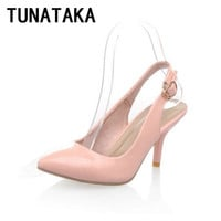 Women Patent Leather Pointed Toe Pumps Medium Heel Shoes Woman Comfy Slip-on Footwear Plus Size Beige Pink Black Red Blue