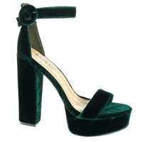Tournament06M Green by Bamboo, Green Velvet 70's Retro Block Heel Platform Dress Sandal