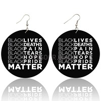 Black Lives Pain Tears Hope Matters Design Wooden Drop Earrings