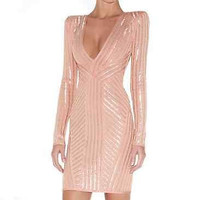 Bandage Bodycon Dress Long Sleeve Pink and Silver Evening Party Mini XS-L