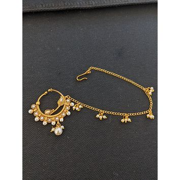 XL size clip on nose ring with pearl chain