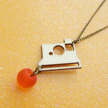 Wood Polariod Camera Necklace - Photographers & Travelers - Orange - Photography - Laser Cut Cameras - Lovely Light Weight Camera Necklace
