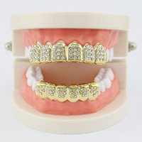 Vampire  Iced Out  14K Gold Silver Plated Top Bottom   Grillz Set Teeth