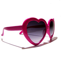FREE SHIPPING, Pink, heart shaped sunglasses, with polka dots on the side, heart, retro, vintage, deadstock, sunglasses, glasses, shades