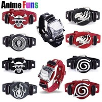 Cool Attack on Titan 16 Types Anime Bracelets  One Piece Fairy Tail Bleach Naruto Death Note Game CF Cross Fire LOL PU Leather Bangles AT_90_11