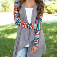 Fall Fashion Grey Geometric Print Drape Front Knit Cardigan