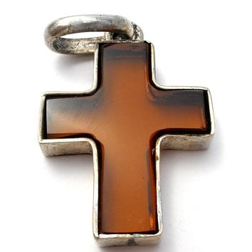 Amber Glass Sterling Silver Cross Pendant