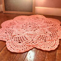 """Large 39"""" Thick and Soft Crochet Round Sunshine Doily Rug MANY COLORS (shown in Princess Pink) Made to Order Soft for Baby Nusery"""