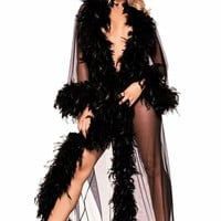 Be Wicked Lingerie Glamour Robe Black chandelle boa feather