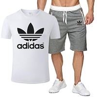 ADIDAS Men and women simple sports suit two-piece white