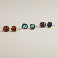 Turquoise, Coral and Blue Stud Earring Trio, Set of 3 - World Market