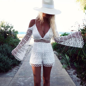 Fashion Summer Lace Hollow Out White Romper [11179060751]