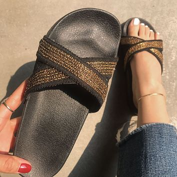 New summer women's large size flat sandals craft cross multi-chain sandals and slippers shoes