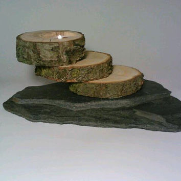 Log and Slate Tealight Candle Holder, Unique