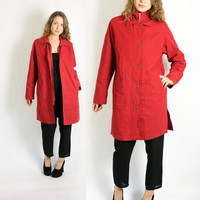 Vintage 90's Red Casual Midi Long Parka Coat Windbreaker S/M